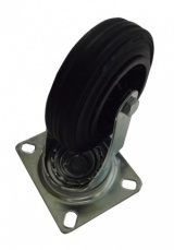 Swivel Industrial Castor with Black Rubber Tyred Wheel